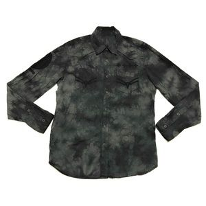 Affliction Tye Dye Embroidered Cross Button Shirt
